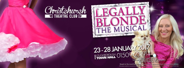 Legally Blonde header image with performance dates, logo and picture of Elle Woods and Bruiser