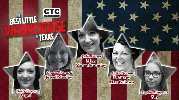 Cast head shots of the leading ladies against an American flag.