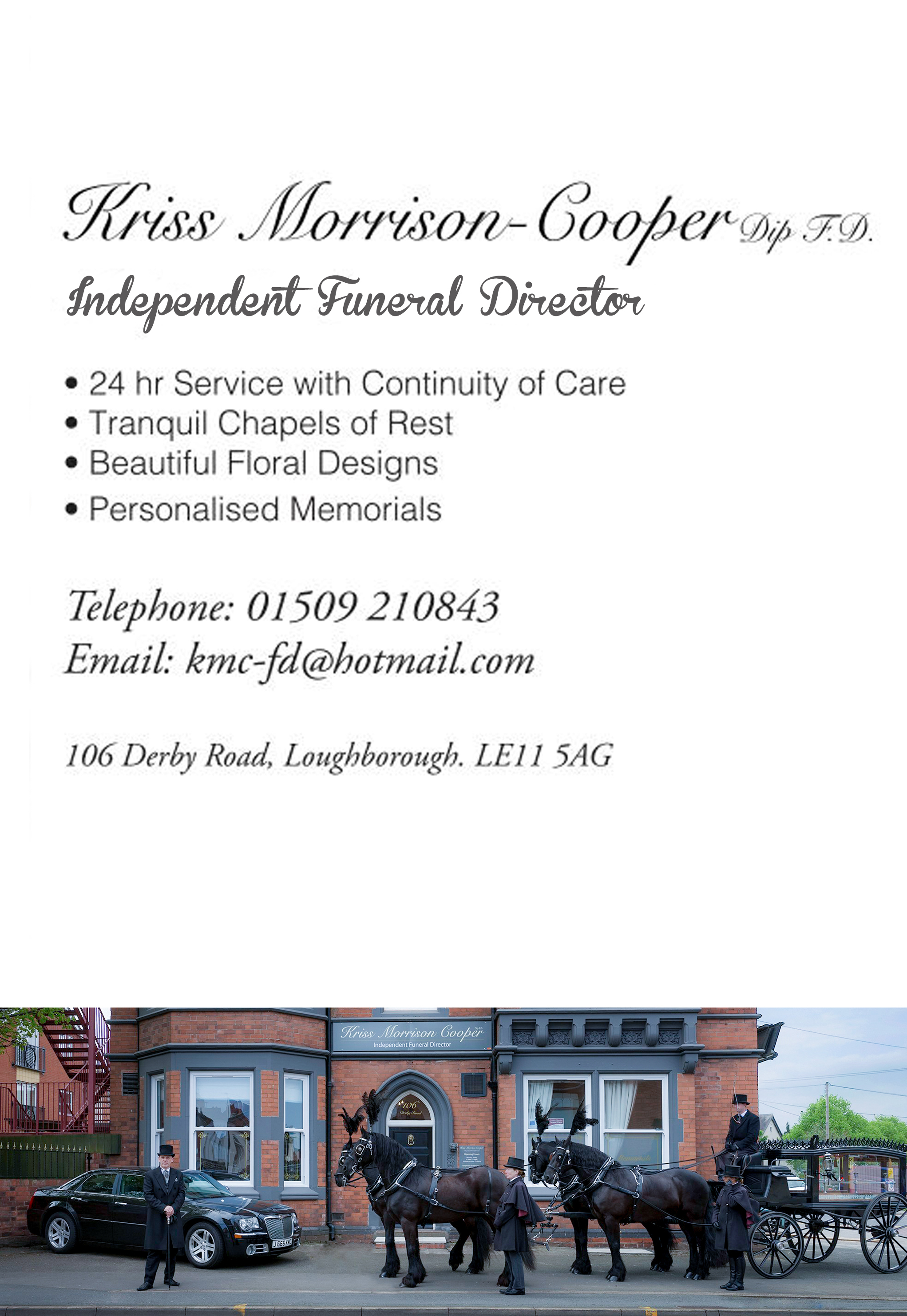Text information about Kriss Morrison-Cooper funereal director. Images of horse-drawn carriage with horses and service vehicles.