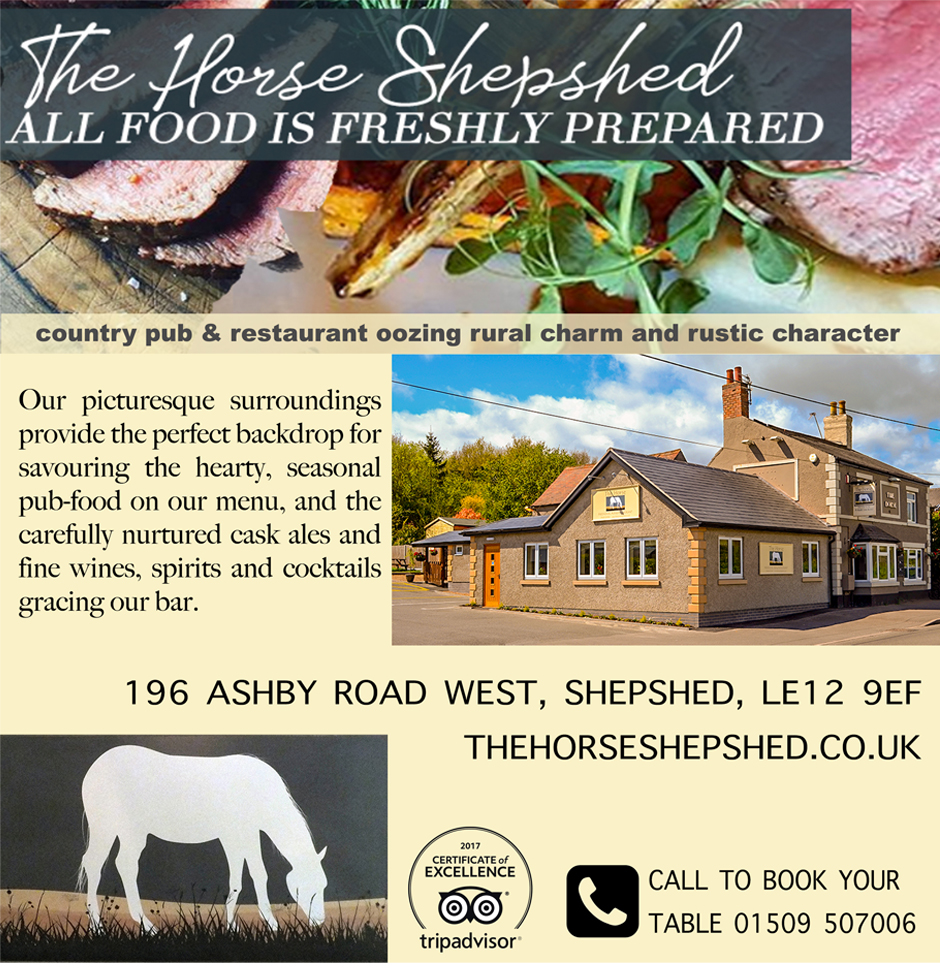 Photo of the Horse pub exterior. Image of food and text about the Horse Pub.