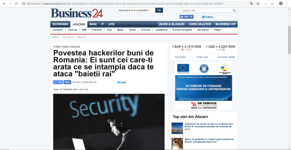 Cyber Threat Defense at Business 24 newspaper