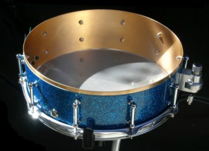 "4.5x14"" 220 Bronze Shell Wrapped in Blue Glass Glitter"