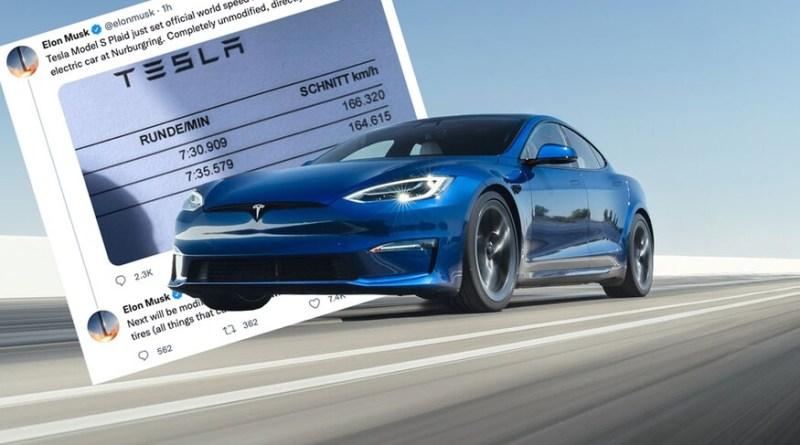 Tesla Model S Plaid sets production EV record at Germany's Nürburgring race course