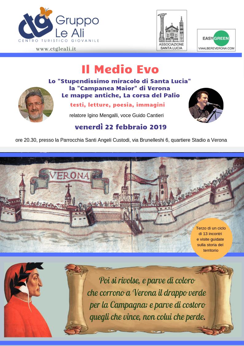 """Il Medio Evo: Lo """"Stupendissimo miracolo di Santa Lucia"""", la """"Campanea Maior"""" di Verona , Le mappe antiche, La corsa del Palio"""
