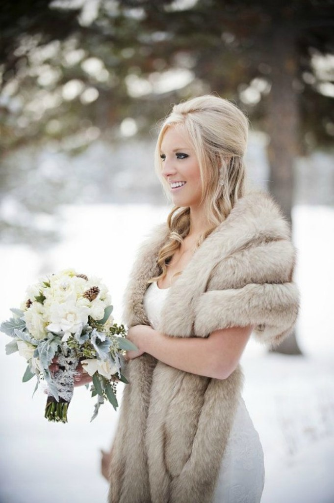 Blonde Bride with fur sized