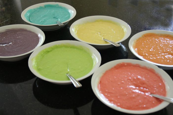 Bowls with colored batter