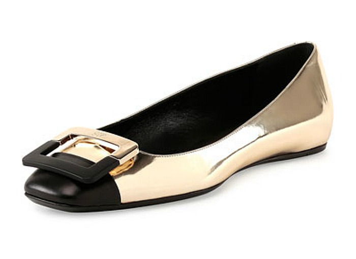 Ballerine U-Cut Cap-Toe Flat, Black/Golden