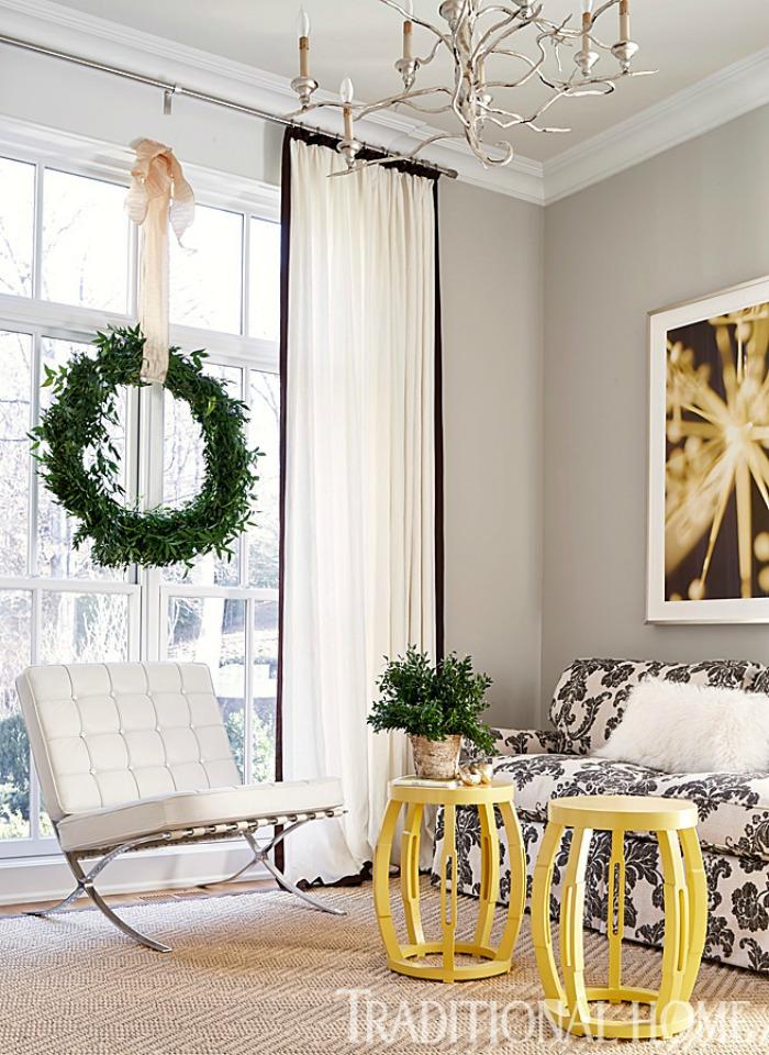 Wreath in window