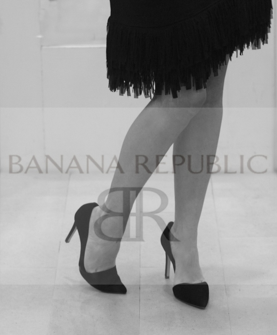 Black Fringe Bottom Dress and Shoes and BR logo in BW