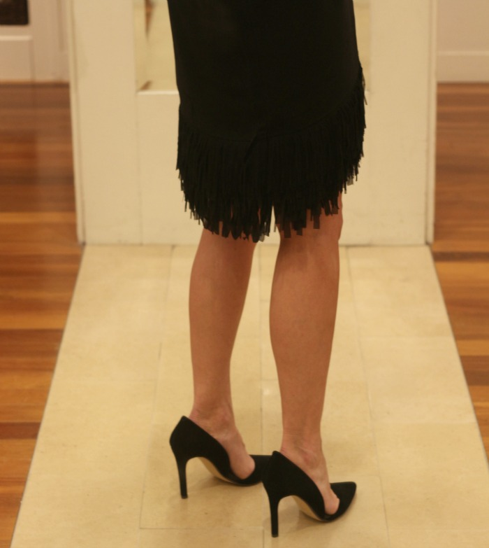 Black Fringe Bottom Dress back