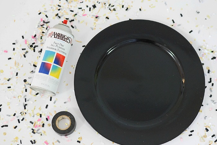 Black Plastic Plate with spray paint
