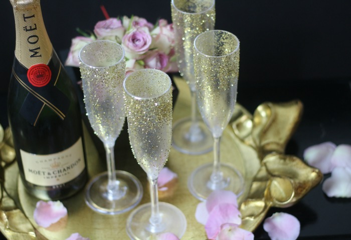 Moet Champagne and glitter glasses