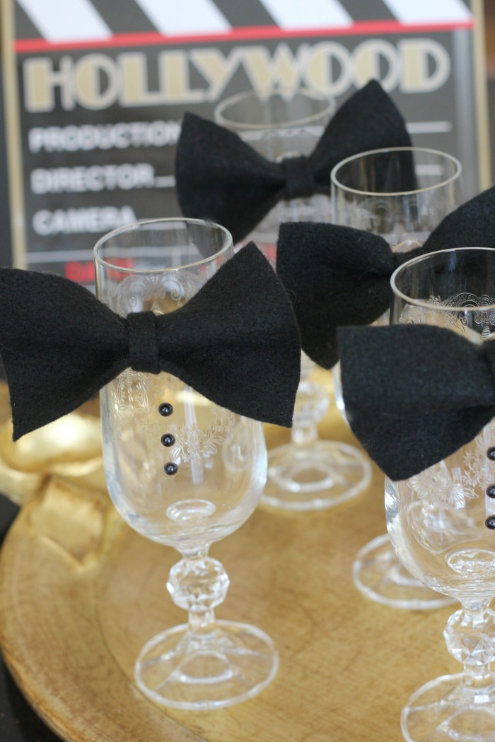 Bow Tie Champagne Glasses