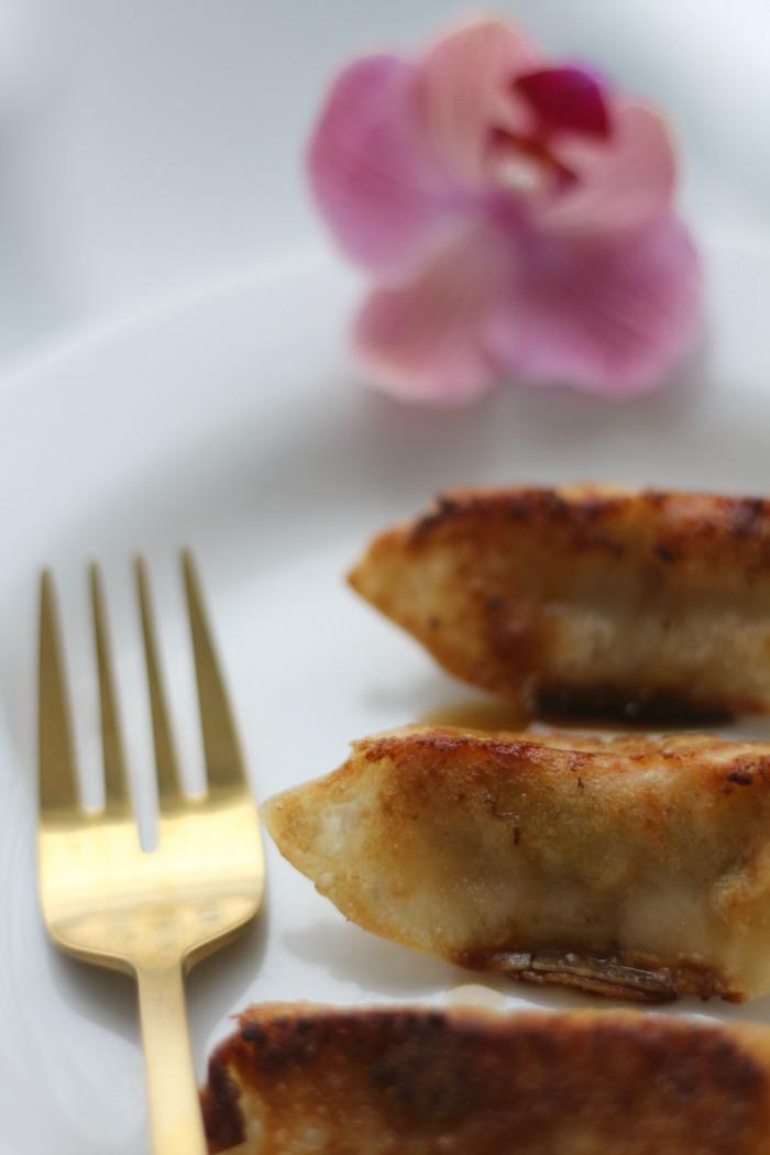 Gyoza with fork