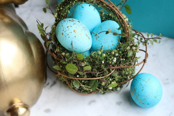 Gold Speckled Easter Eggs with bunny tail