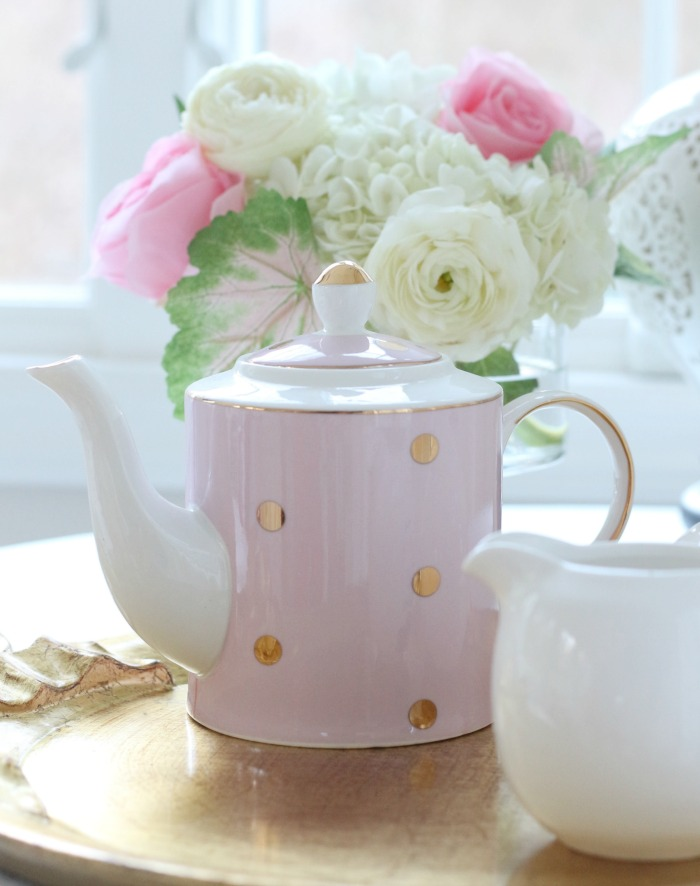 Pink Teapot with gold dots