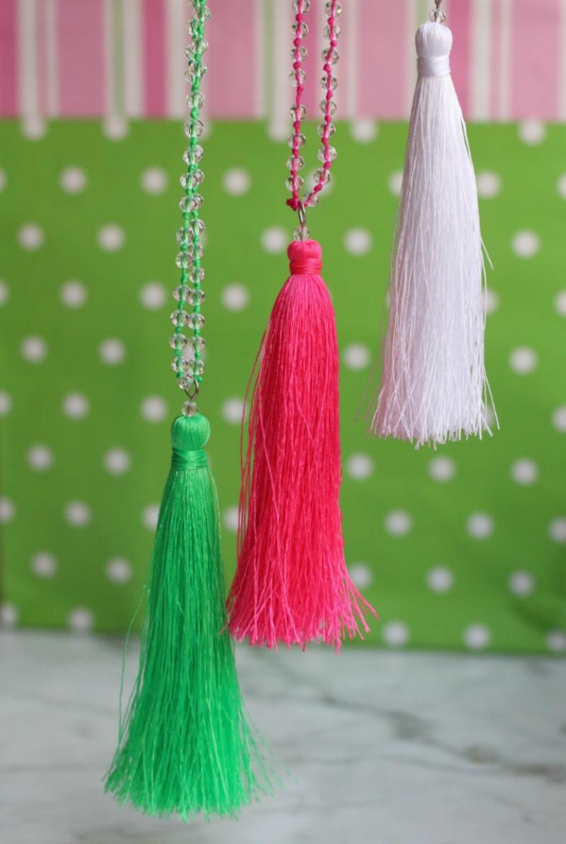 Three Silk Tassel Necklaces