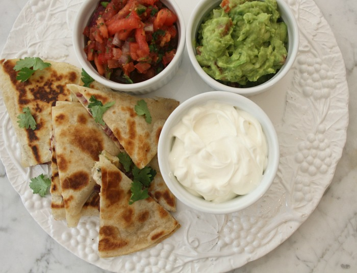 Spicy Chicken Quesadillas with Caramelized Onions