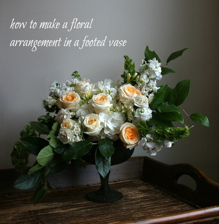 how to make a floral arrangement in a footed vase