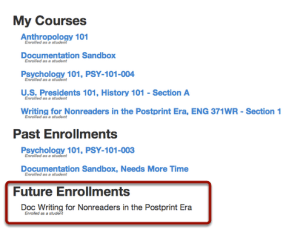 Future Enrollment Screenshot