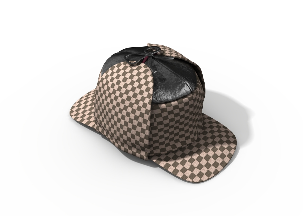 Sherlock Holmes style cap.