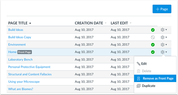 Front page setting menu remove as front page option.