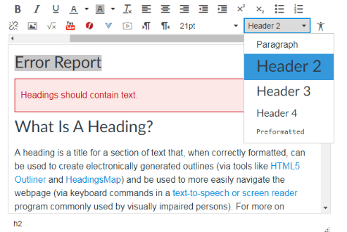 The Rich Text Editor in Canvas showing the pull down menu to add a text Header to the highlighted text.