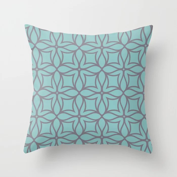 Pastel Teal and Purple Line Art Flower Pattern 2021 Color of the Year Aqua Fiesta and Magic Dust Throw Pillow