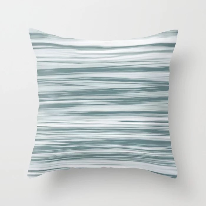 Blue-Green Watercolor Blend 2021 Color of the Year Aegean Teal 2136-40 Aqua Throw Pillow