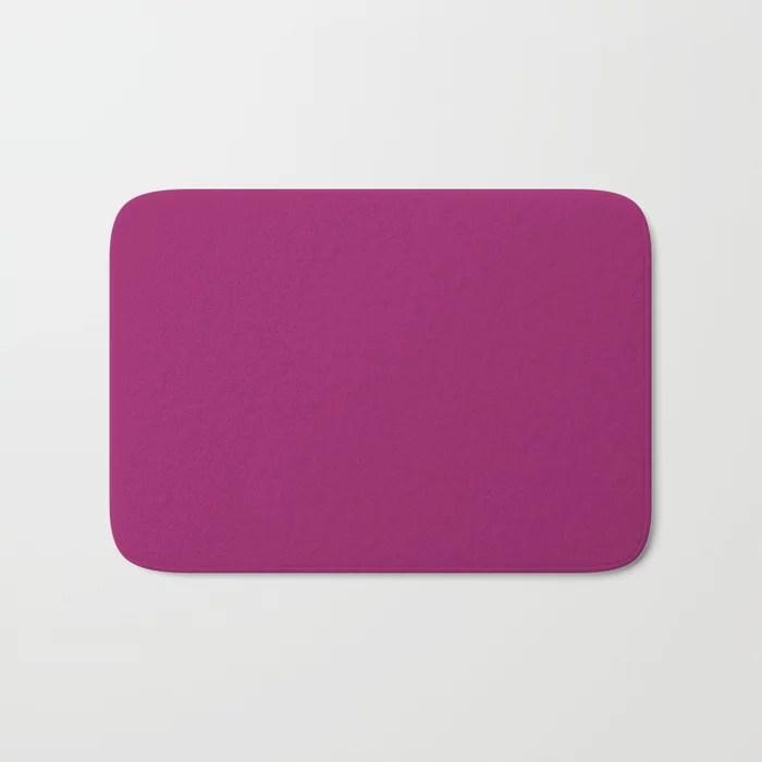 Orchid Flower Deep Pink Purple Solid Color 2022 Colour of the Year Bath Mat. 2022 color trend - color scheme