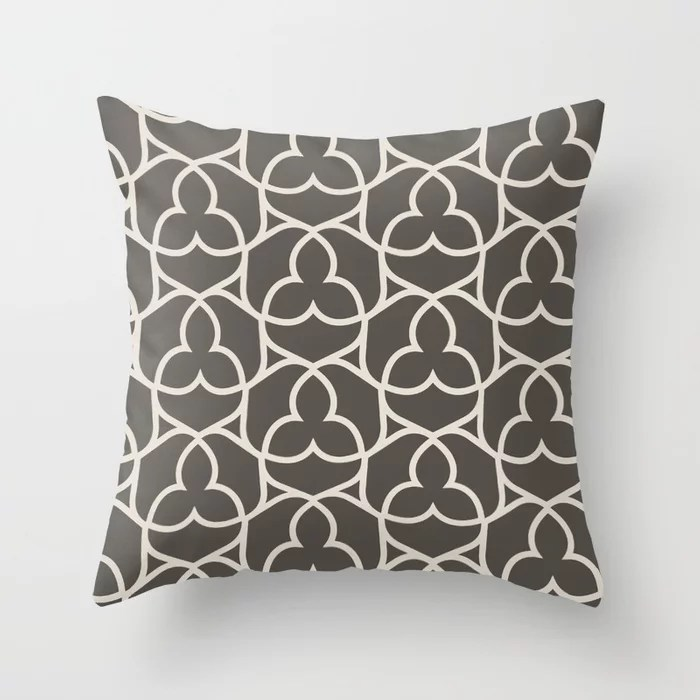 Brown and Cream Ornamental Shape Pattern 2 Throw Pillows match and coordinate with Sherwin Williams Paints 2021 Color of the Year Urbane Bronze and Shoji White