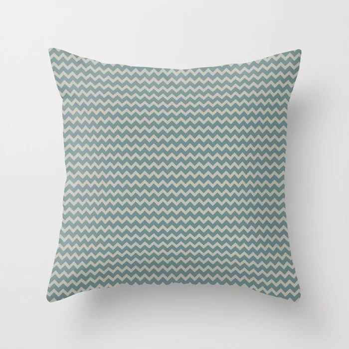 Muted Aqua and Tan Chevron Stripe Pattern 2021 Color of the Year Aegean Teal and Winterwood Throw Pillow