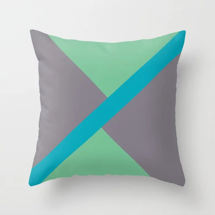 Blue-green Gray Green Diagonal Shape Pattern 2021 Color of the Year AI Aqua 098-59-30 Throw Pillow