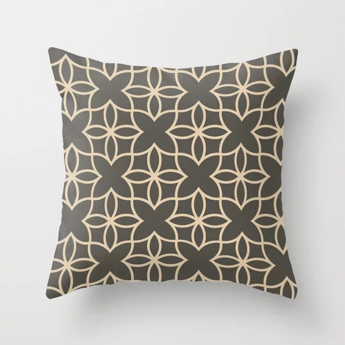 Brown and Tan Line Art Pattern 4 Flower V2 2021 Color of the Year Urbane Bronze and Ivoire Throw Pillow