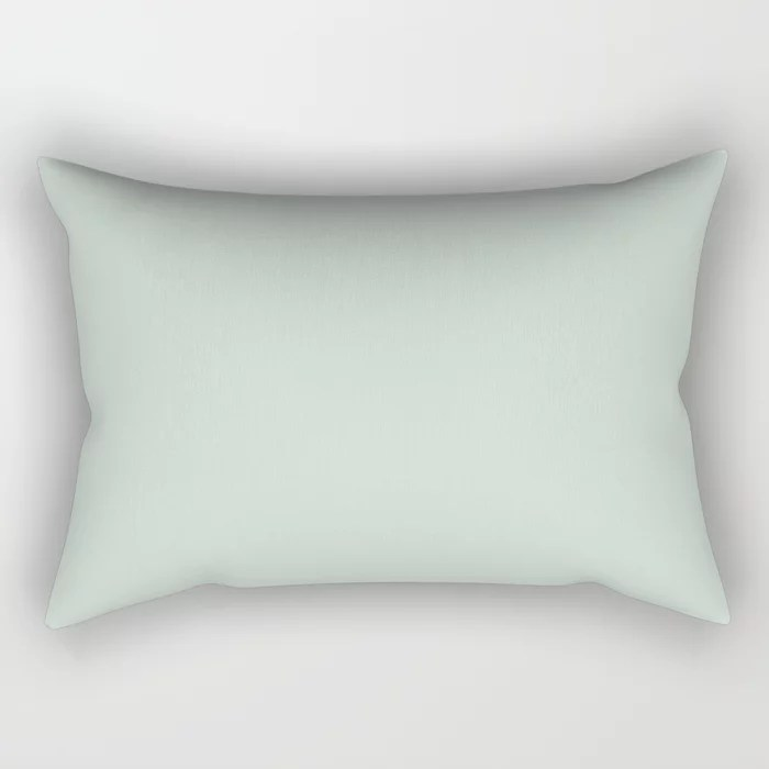 Pastel Green Solid Color rectangle throw pillows Pairs Behr 2022 Color of the Year Breezeway MQ3-21. 2022 color scheme, trending interior design hue.