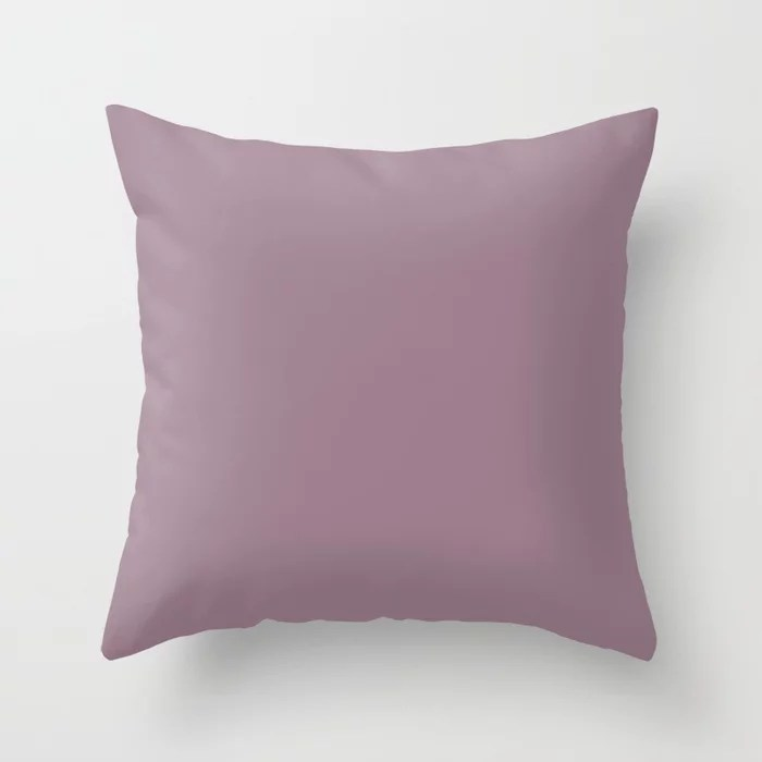 Elevated Mauve Mid Tone Pink Purple Solid Color Pairs To Sherwin Williams Ruby Violet SW 9076 Throw Pillow