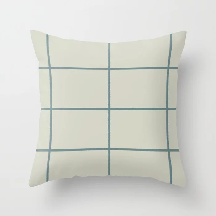 Muted Aqua and Beige Thin Check Pattern 2021 Color of the Year Aegean Teal and Sweet Spring Throw Pillow