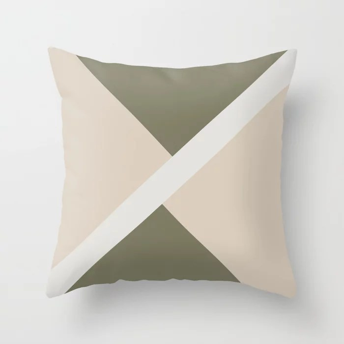 Light Beige White Green Stripe Offset Shape Design: Hues were inspired by and match (pair / coordinate with) 2021 Color of the Year Uptown Ecru & Accent Shade Throw Pillow