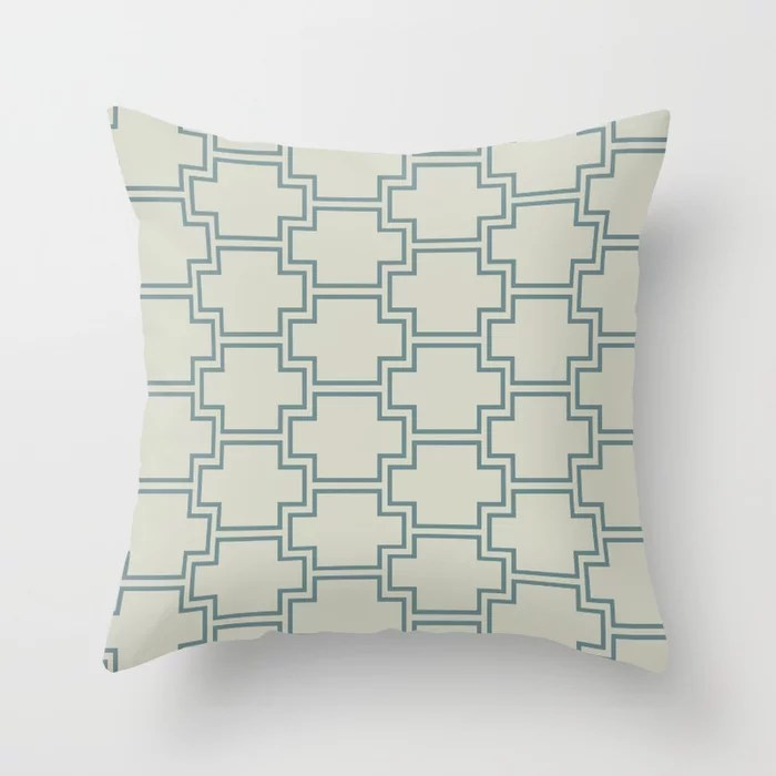 Blue-Green Beige Line Pattern 2 Ornamental Box 2021 Color of the Year Aegean Teal and Sweet Spring Throw Pillow