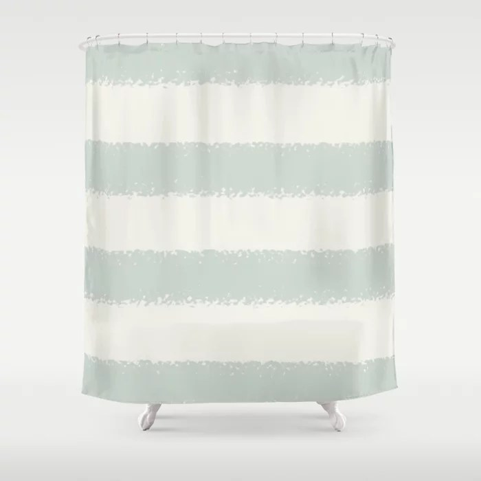 Mint Green and Cream Horizontal Stripe Pattern Behr 2022 Color of the Year Breezeway MQ3-21 Shower Curtain. 2022 color trend