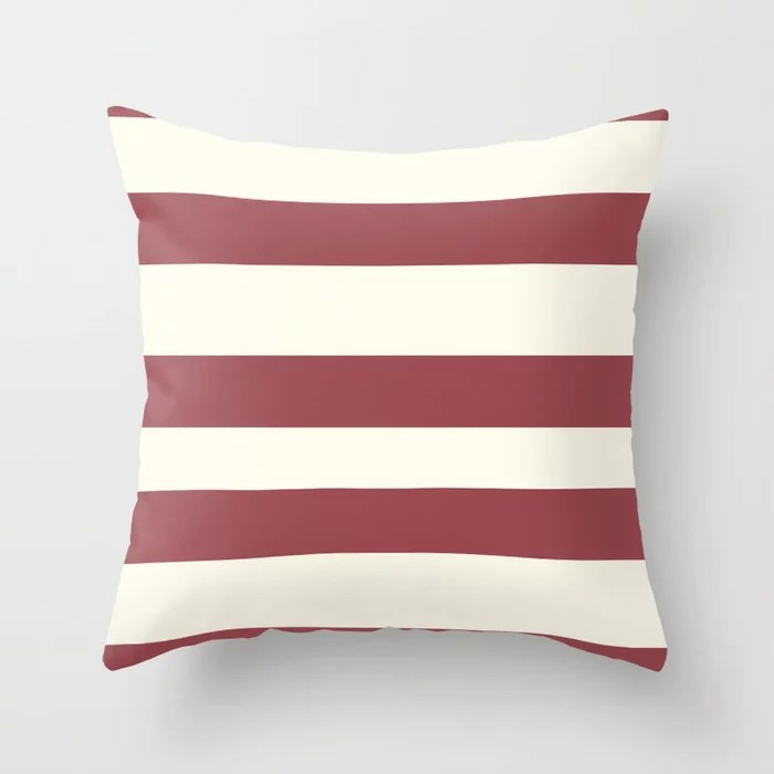 Red and Off White Wide Horizontal Stripe Pattern 2021 Color of the Year Passionate & Bohemian Lace Throw Pillow