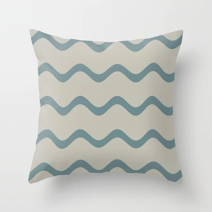 Muted Aqua and Tan Rippled Stripe Pattern 2021 Color of the Year Aegean Teal and Winterwood Throw Pillow