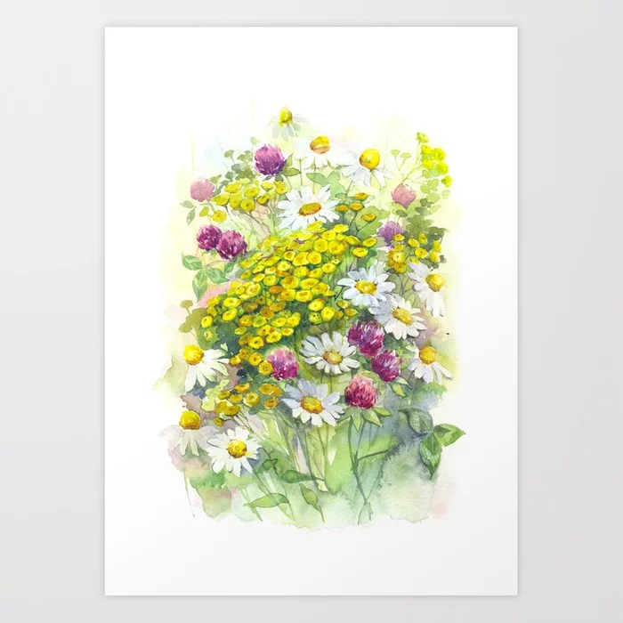Sunday's Society6 | Spring flowers watercolor art print