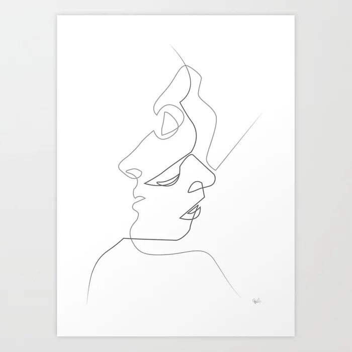Sunday's Society6 | Black and white couple drawing art print