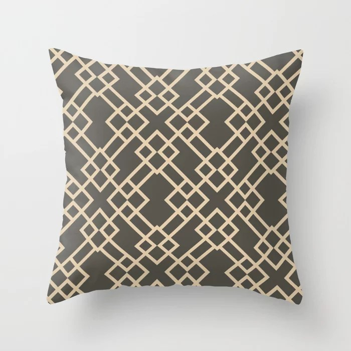 Brown and Tan Minimal Line Art Pattern V2 2021 Color of the Year Urbane Bronze and Ivoire Throw Pillow