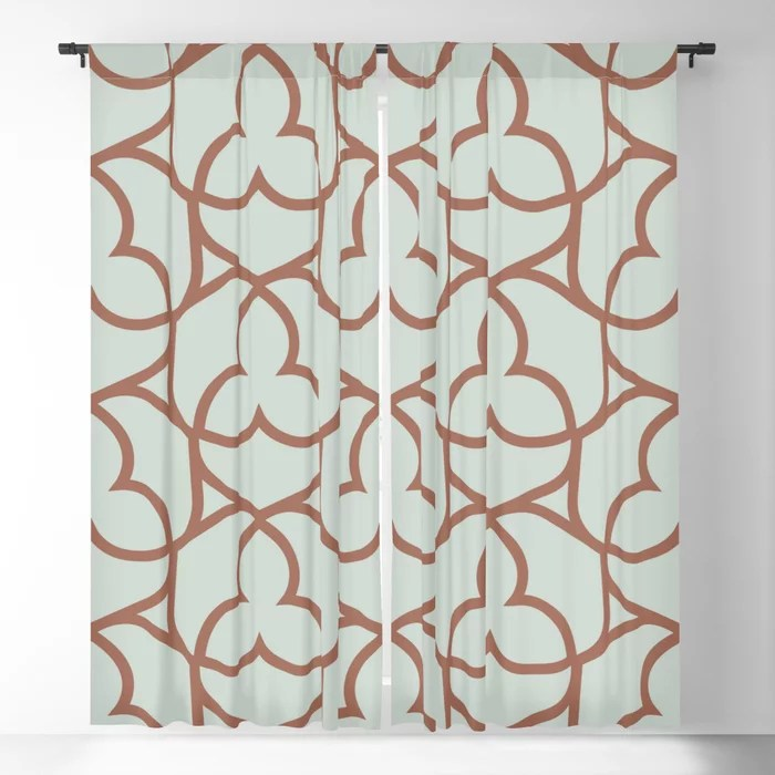 Pastel Green and Clay Shape Pattern 2 Pairs Behr 2022 Color of the Year Breezeway MQ3-21 Blackout Curtain. Spring/Summer 2022 color forecast