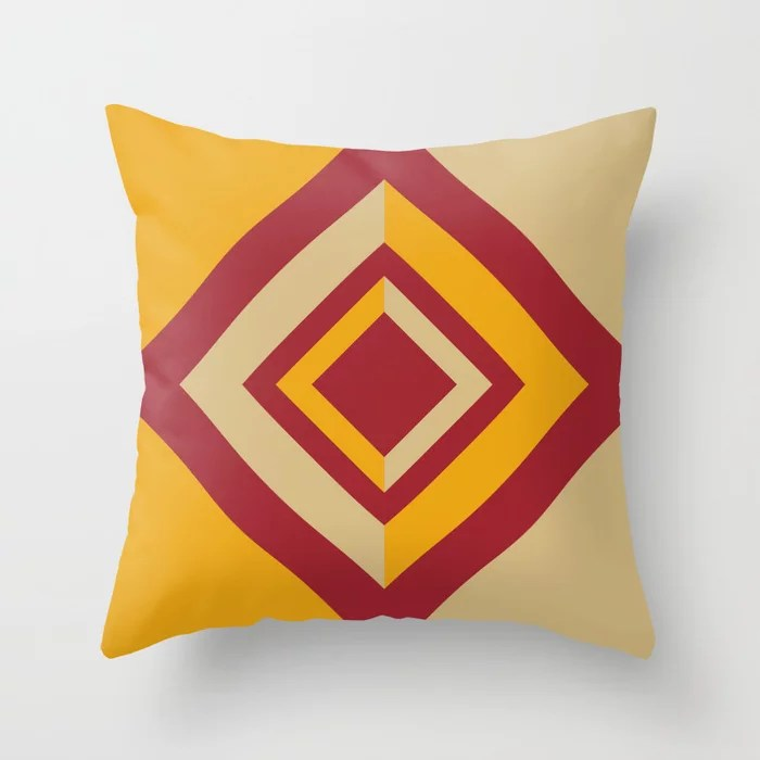 Red Orange Beige Geometric Diamond Shape Design 2021 Color of the Year Satin Paprika & Accent Shades Throw Pillow