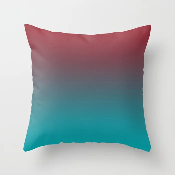 Red and Aqua Gradient Ombre Blend 2021 Color of the Year Satin Paprika and Vintage Teal Throw Pillow