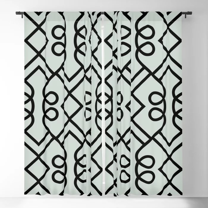 Pastel Green and Black Diamond Loop Pattern Pairs Behr 2022 Color of the Year Breezeway MQ3-21 Blackout Curtain. Decorating colors for 2022