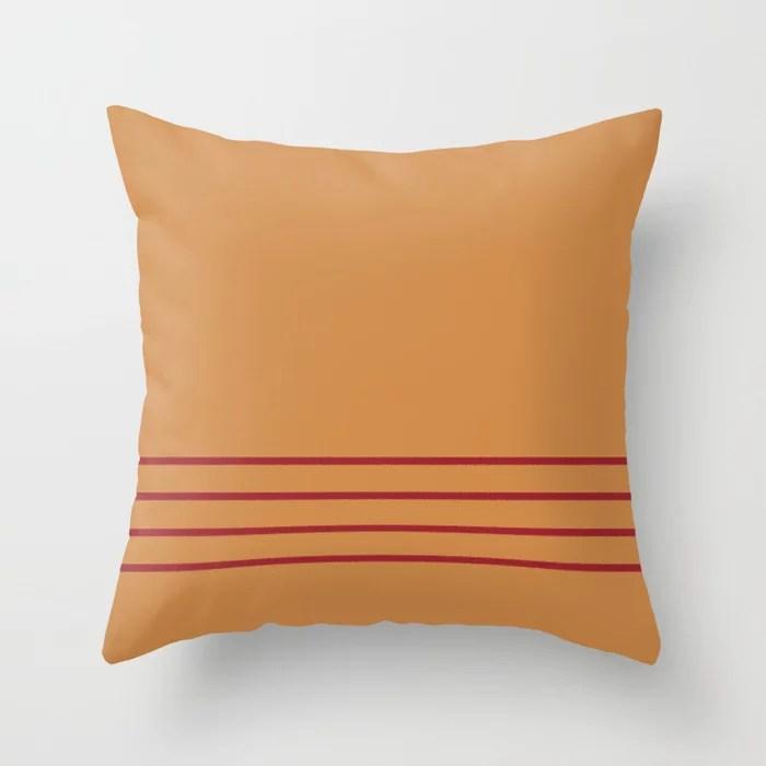 Dark Orange & Red Thin 4 Stripe Pattern 2021 Color of the Year Satin Paprika and Warm Caramel Throw Pillow